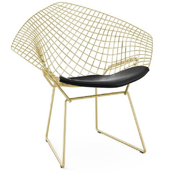 Plata Decor Bertoia Diamond Side Chair - Gold and Black Cushion