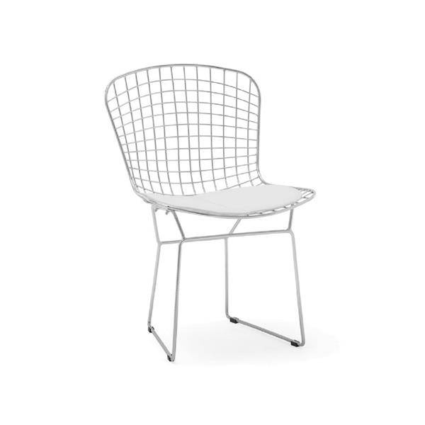 Plata Decor Wire Side Chair - Chrome and White Cushion