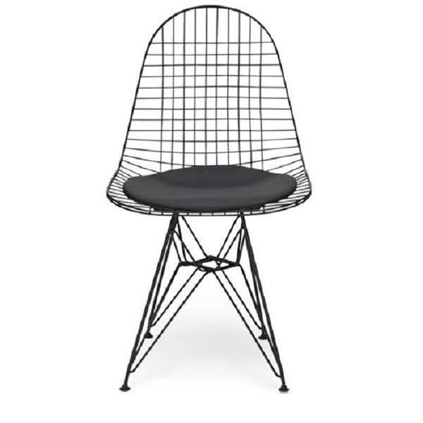Plata Decor Mesh Armless Chair with Cushion - Black