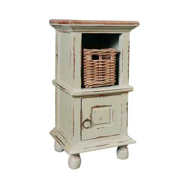 Sunset Trading Shabby Chic Cottage End Table with Drawer - 14-in x 26.5-in - Antique Sage Green