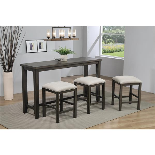 Sunset Trading Shades of Grey Dining Set - Set of 4 - Dark Grey