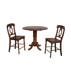 Sunset Trading Andrews Round Dining Set - Set of 3 - Dark Chestnut