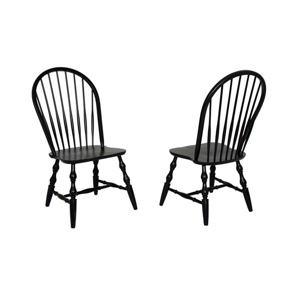 Sunset Trading Black Cherry Selections Dining Chair - 41-in x 20.5-in - Antique Black - Set of 2