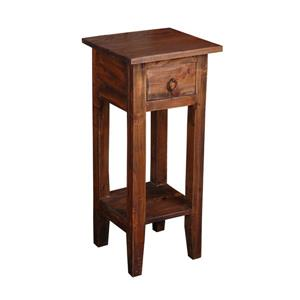 Sunset Trading Shabby Chic Cottage Side Table with Drawer- 11.75-in x 25.75-in - Dark Wood