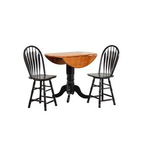 Sunset Trading Black Cherry Selections Round Dining Set - Set of 3 - Antique Black