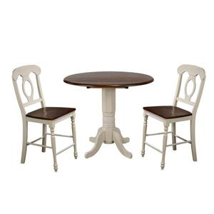 Sunset Trading Andrews Drop Leaf Dining Set - Set of 3 - Antique White