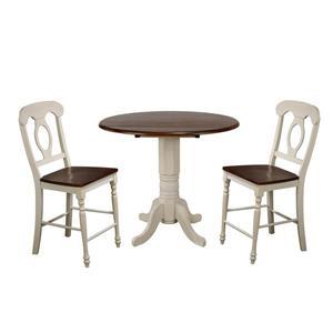 Sunset Trading Andrews Drop Leaf Dining Set - Set of 3 - Antique White