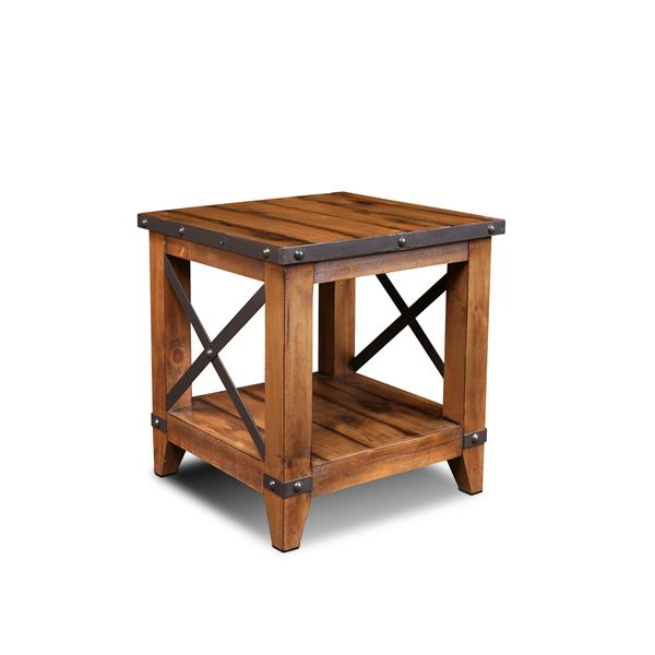 Sunset Trading Rustic City End Table - 1 Shelf - 23.5-in x 25.5-in - Matte Walnut