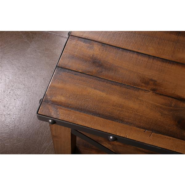 Table d'appoint Rustic City de Sunset Trading, 23,5 po x 25,5 po, noyer mat