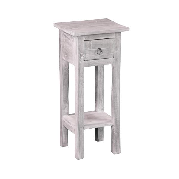 Sunset Trading Shabby Chic Cottage Side Table with Drawer - 11.75-in x 25-in - Matte Gray