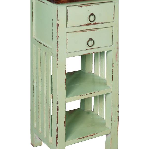 Sunset Trading Shabby Chic Cottage End Table with Drawer - 12-in x 30-in - Antique Teal
