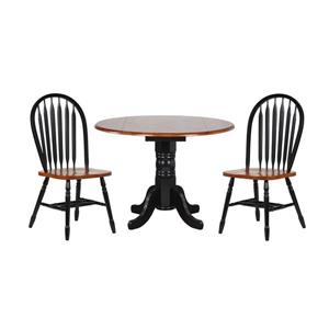 Sunset Trading Black Cherry Selections Dining Set - Round Table - Set of 3 - Antique Black