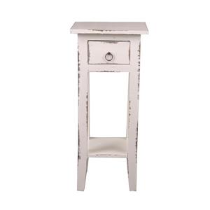 Table d'appoint Shabby Chic Cottage de Sunset Trading, 1 tiroir, 11,75 po x 25,75 po, blanc antique