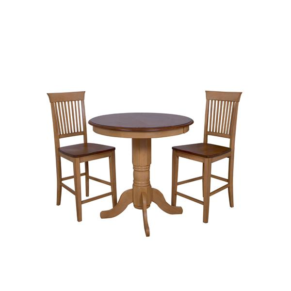 Sunset Trading Brook Dining Set with Round Table - Set of 3 - Light Oak