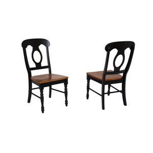 Chaise de salle à manger Black Cherry Selections de Sunset Trading, 38 po x 18.5 po, noir antique, ens. de 2