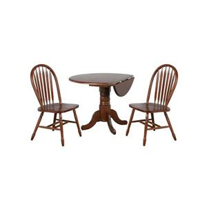 Sunset Trading Andrews Round Dining Set - Leaf Table - Set of 3 - Dark Chestnut