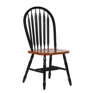 Sunset Trading Black Cherry Selections Arrowback Dining Chair - 38-in x 20-in - Antique Black/Cherry Brown - Set of 2