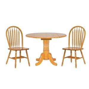 Sunset Trading Oak Selections Round Dining Set - Set of 3 - Light Oak