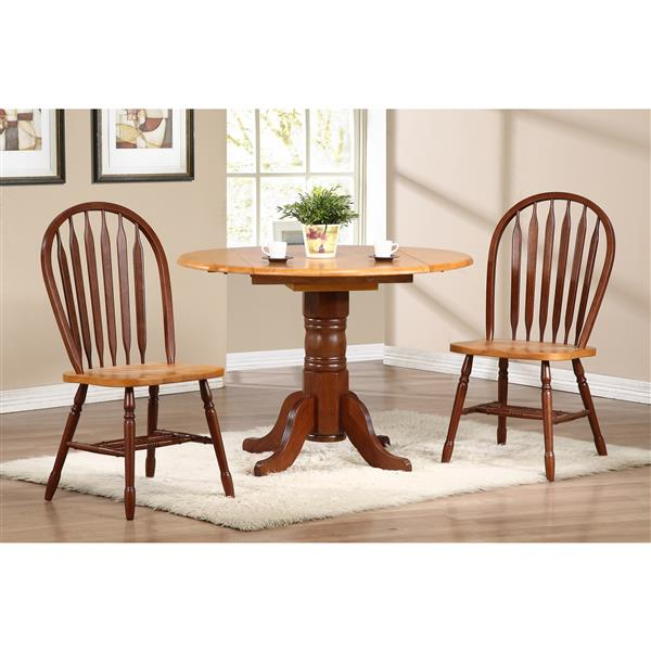 Sunset Trading Oak Selections Round Dining Set - Set of 3 - Nutmeg Brown/Light Oak