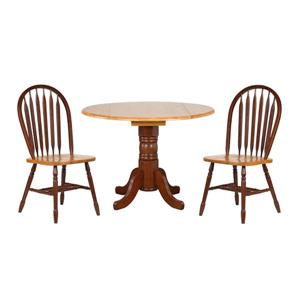 Sunset Trading Oak Selections Round Dining Set - Set of 3 - Walnut