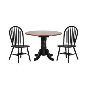 Ensemble de salle à manger Black Cherry Selections de Sunset Trading, table ronde, 3 pièces, noir