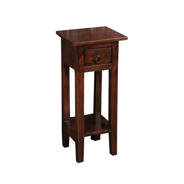 Sunset Trading Shabby Chic Cottage Side Table with Drawer - 11.75-in x 25.75-in - Glossy Brown