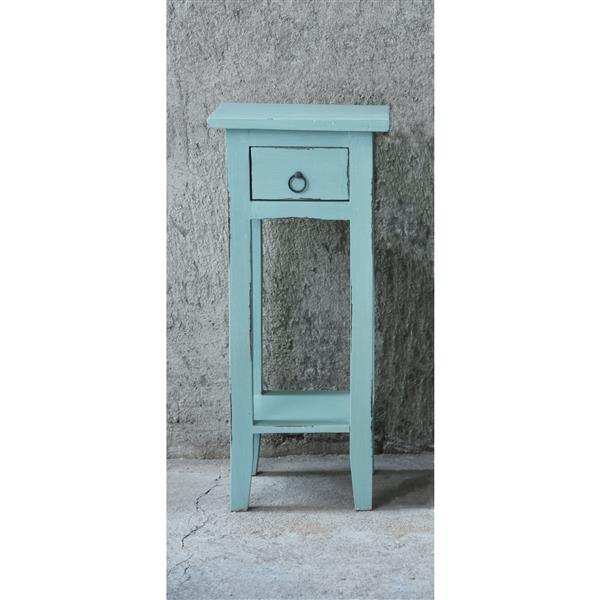 Sunset Trading Shabby Chic Cottage Side Table with Drawer - 11.75-in x 25-in - Antique Blue