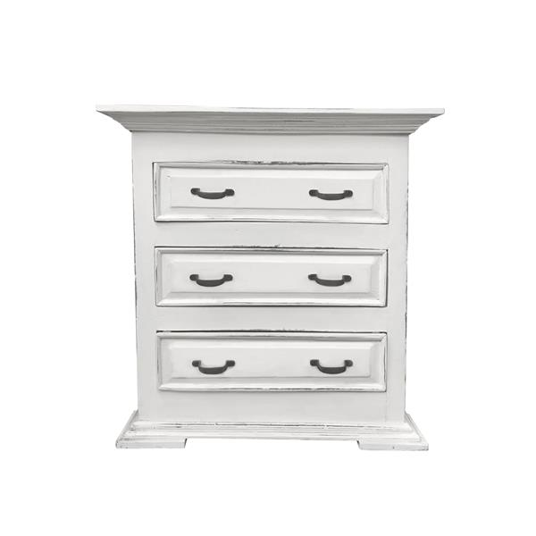 Table d'appoint Shabby Chic Cottage de Sunset Trading, 29,5 po x 31,5 po, blanc antique