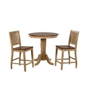 Ensemble de salle à manger Brook de Sunset Trading, 3 pièces, table ronde, chêne pâle