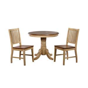 Ensemble de salle à manger Brook de Sunset Trading, 3 pièces, table ronde, chêne naturel
