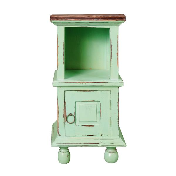 Sunset Trading Shabby Chic Cottage End Table with Drawer - 14-in x 26.5-in - Antique Teal