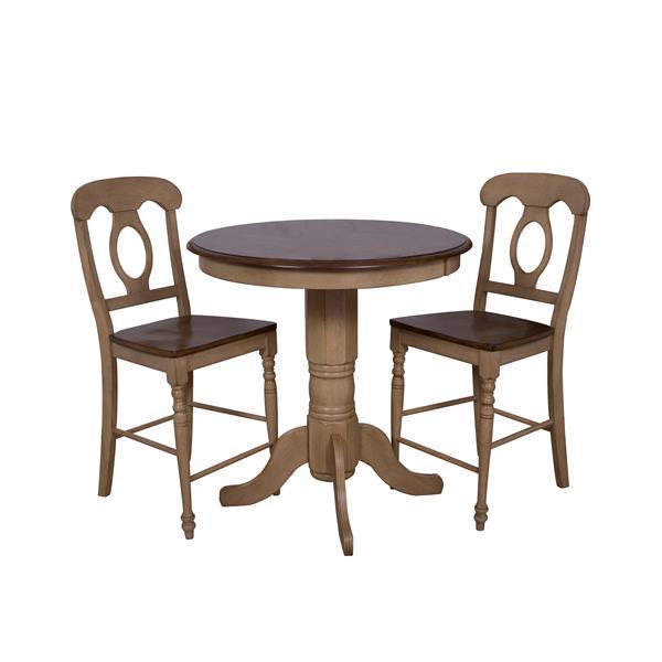Ensemble de salle à manger Sunset trading Brook, table ronde 36 po, 3 pièces, chêne clair