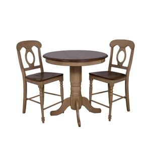 Sunset Trading Brook Dining Set - 36-in Round Table - Set of 3 - Light Oak