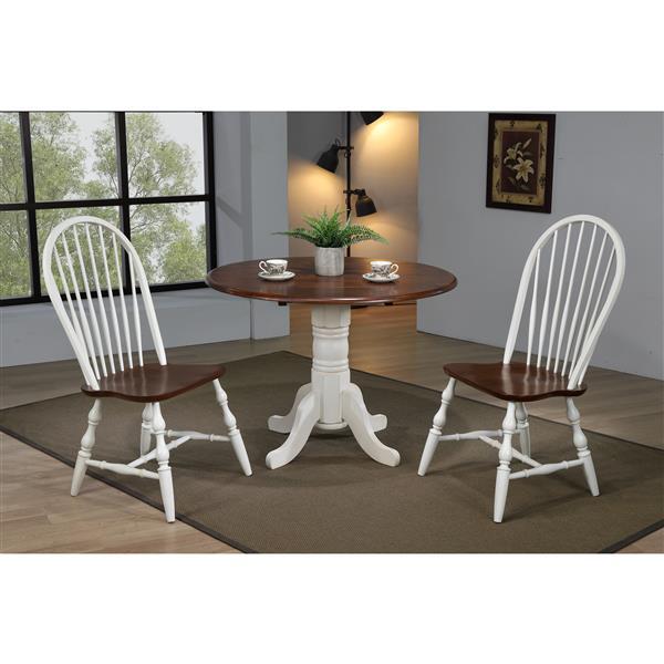 Ensemble de salle à manger Andrews de Sunset Trading, 3 pièces, table à rabat, blanc antique