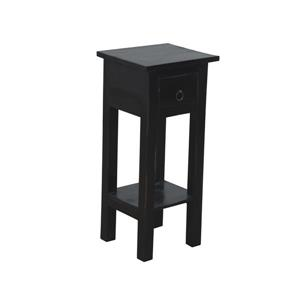 Sunset Trading Shabby Chic Cottage Side Table with Drawer - 11.75-in x 25.75-in - Antique Black