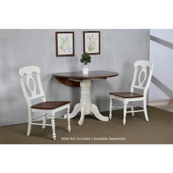 Sunset Trading Andrews Dining Chair - 38-in x 18.5-in - Antique White/Chestnut - Set of 2