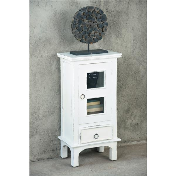 Sunset Trading Shabby Chic Cottage End Table with Drawer - 18-in x 36-in - Antique White