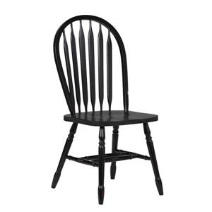Sunset Trading Black Cherry Selections Arrowback Dining Chair - 38-in x 20-in - Antique Black - Set of 2