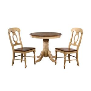 Sunset Trading Brook Dining Set - Round Table - Set of 3 - Light Oak
