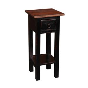 Sunset Trading Shabby Chic Cottage Square Side Table with Drawer - 11.75-in x 25.75-in - Antique Black