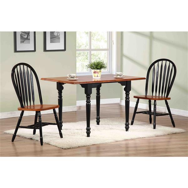 Ensemble de salle à manger Black Cherry de Sunset Trading, 3 pièces, noir antique/cerisier