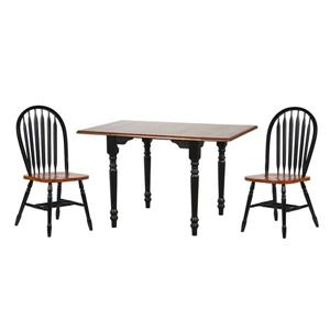 Sunset Trading Black Cherry Selections Dining Set with Arrowback Chairs - Set of 3 - Antique Black