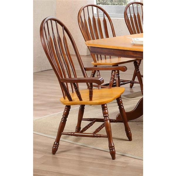 Sunset Trading Oak Selections Dining Chair - 41-in x 21.5-in - Walnut/Light Oak