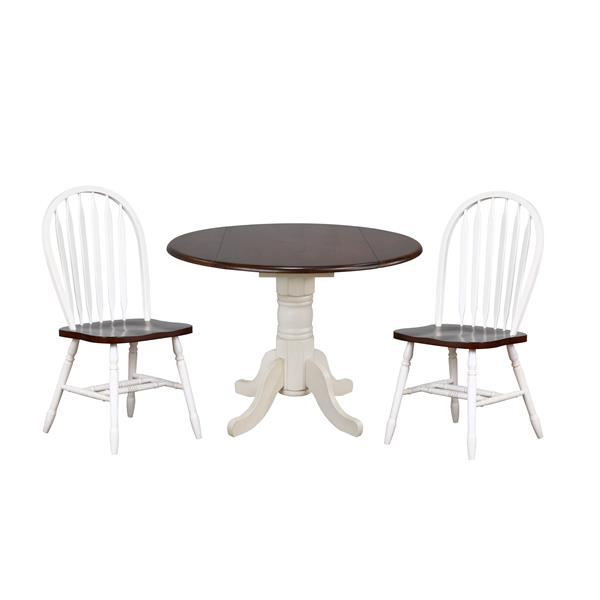 Sunset Trading Andrews Dining Set - 42-in Round Table - Set of 3 - Antique White