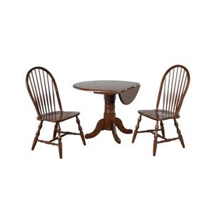Sunset Trading Andrews Dining Set - Leaf Table - Set of 3 - Dark Chestnut