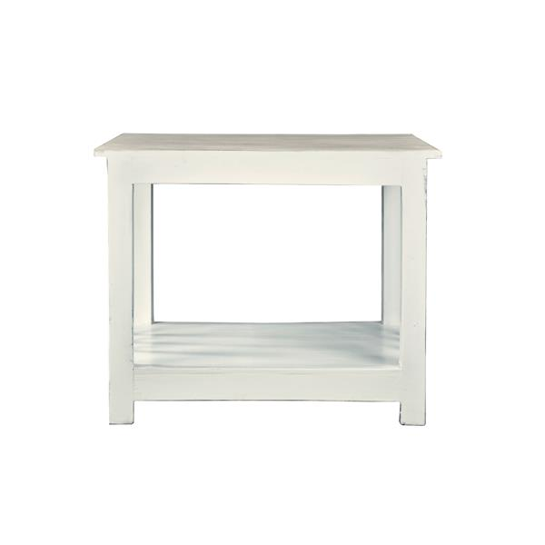 Sunset Trading Shabby Chic Cottage End Table - 25.5-in x 20-in - Antique White