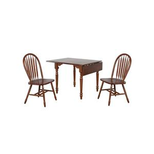 Sunset Trading Andrews Drop Leaf Dining Set - Round Table - Set of 3 - Dark Chestnut