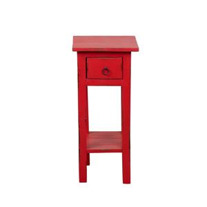 Table d'appoint Shabby Chic Cottage de Sunset Trading, 1 tiroir, 11,75 po x 25,75 po, rouge antique