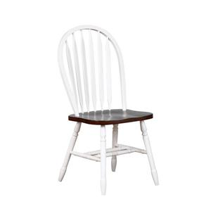 Sunset Trading Andrews Dining Chair - 38-in x 20-in - Antique White/Chestnut - Set of 2