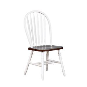 Chaise de salle à manger Andrews de Sunset Trading, 38 po x 20 po, blanc antique/brun, ens. de 2